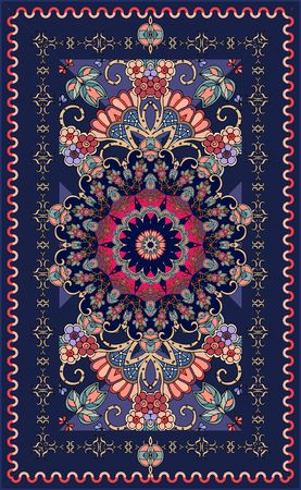 Ornamental dark blue rug with beautiful rosette and floral pattern. Indian, persian, turkish, damask motives. Multicolor vector illustration.