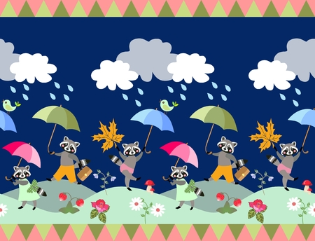 Cute seamless border with fairy tale raccoons and umbrellas. Unique vector illustration for baby.