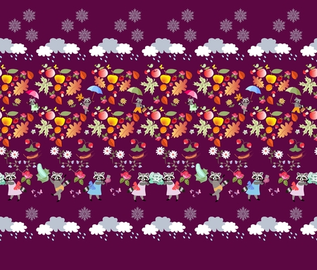 Seamless pattern with cute cartoon animals, autumn leaves, mushrooms, berries, fruits, vegetables, clouds, rain drops and snowflakes on purple background. Print for fabric. Illustration for baby. Illustration