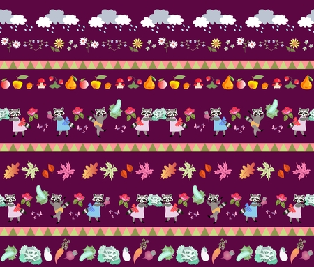 raccoons: Harvesting. Seamless striped pattern with cute cartoon characters. Little raccoons, clouds, autumn leaves, fruits and vegetables. Fairy tale vector illustration for baby. Print for fabric, wallpaper.