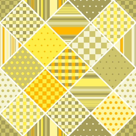 Seamless vector patchwork pattern from different geometric patches.