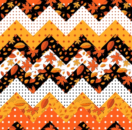Autumn patchwork with falling leaves and polka dot. Seamless chevron pattern.