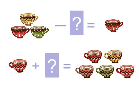 Educational game for children. Cute illustration of mathematical addition and subtraction. Vector image. Examples with colorful tea cups. Illustration