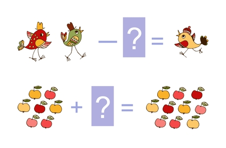 Educational game for children. Cute illustration of mathematical addition and subtraction. Vector image. Examples with birds and apples.