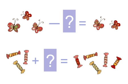 Educational game for children. Cute illustration of mathematical addition and subtraction. Vector image. Examples with butterflies and candies