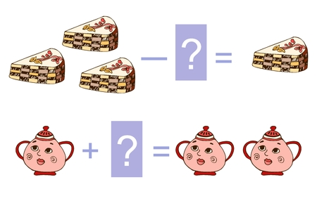 Educational game for children. Cute illustration of mathematical addition and subtraction. Vector image. Examples with pieces of cake and sugar bowls.