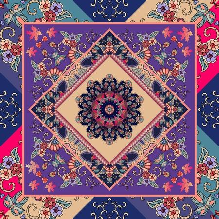 Hispanic shawl. Unique ornamental pattern in ethnic style with flower mandala and unusual frame. Diagonal composition. Wedding invitation. Illustration