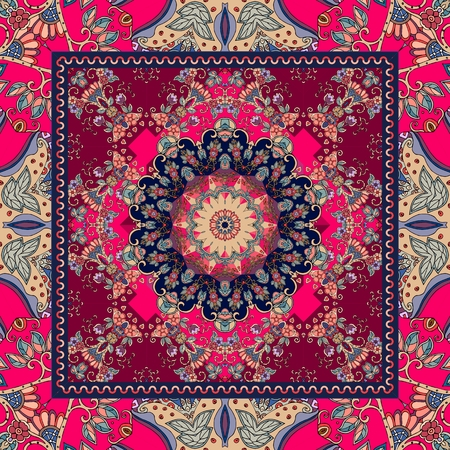 Detailed floral shawl design. Flower mandala and ornamental frame. Cushion. Napkin. Carpet.