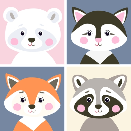 Vector set of cute woodland and pet animals. Funny polar bear, kitten, fox and raccoon in flat style. Illustration for children. Фото со стока - 73956329