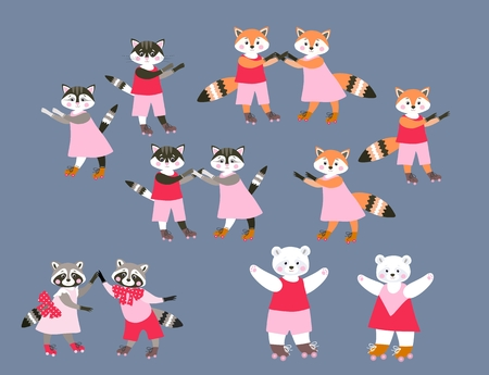 grey cat: Collection of cute cartoon woodland and pet animals on roller skates. Vector illustration for children. Dancing funny raccoons, cats, foxes and polar bears.