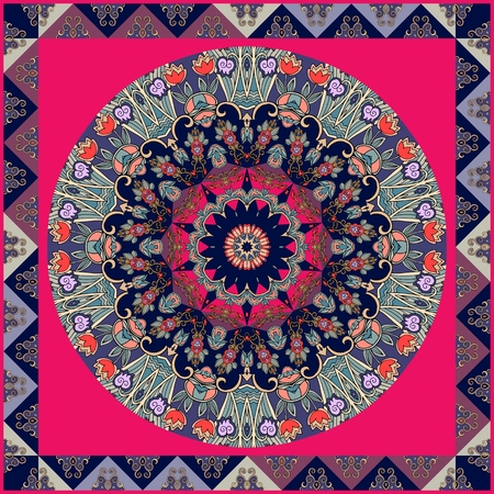 handkerchief: Ethnic square carpet. Lovely tablecloth with tulips. Flower mandala and decorative frame from triangles. Illustration