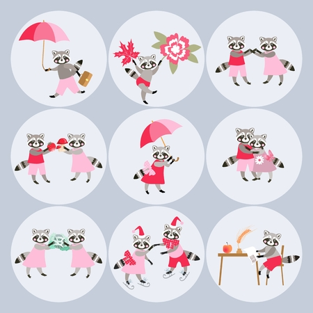 Round stickers with cute cartoon raccoons. Vector illustration. 向量圖像