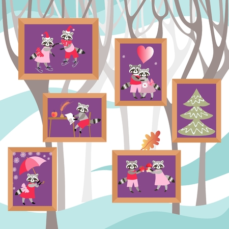 Pictures with cute cartoon raccoons on the wall. Beautiful design. 向量圖像