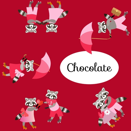 rollerblade: Chocolate package design with cute raccons. Vector illustration.