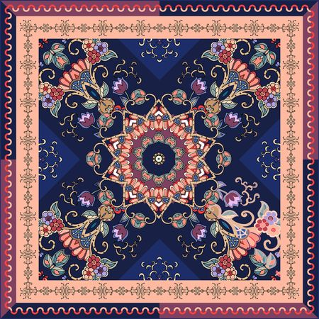 Unique scarf with lilac tulips, green leaves, flower mandala, stylized waves and ornamental frame. Square carpet or greeting card. Bright summer design. Vector template.
