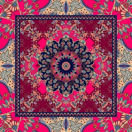 crimson: Detailed floral shawl design. Flower mandala and ornamental frame. Cushion. Napkin.
