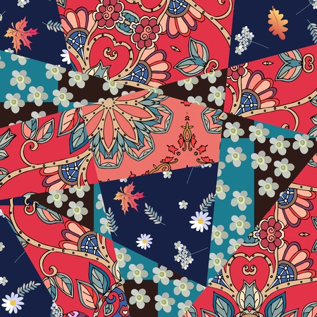 yarrow: Patchwork natural pattern with yarrow flower and maple leaves. Summer design.