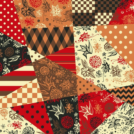 Festive patchwork pattern in ethnic style with flowers and abstract geometric prints. Cute vector illustration.