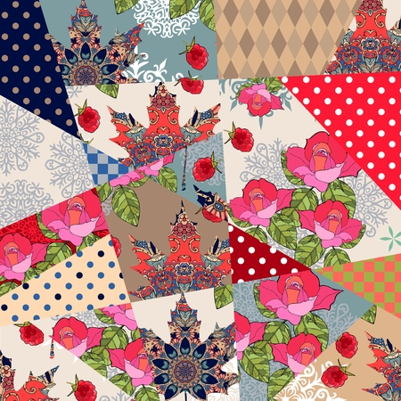 Patchwork pattern with roses, ornamental maple leaves, berries, polka dot prints. Floral quilt design. Beautiful vector illustration.