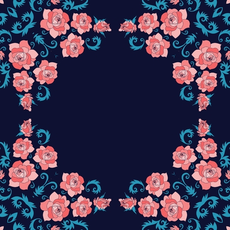 Flowers and birds. Beautiful design for frames, cards, bandana prints, kerchief design, tablecloths and napkins. Illustration