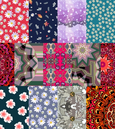 yarrow: Seamless patchwork pattern with daisies and yarrow flowers. Fashionable print for fabric.