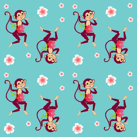 funny baby: Endless pattern with cheerful monkeys and beautiful flowers in indian style. Vector print for fabric. Illustration