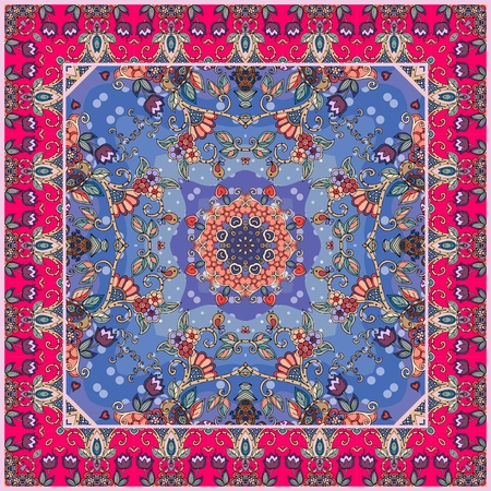 Beautiful kerchief with ornamental border and floral pattern. Square ethnic rug.