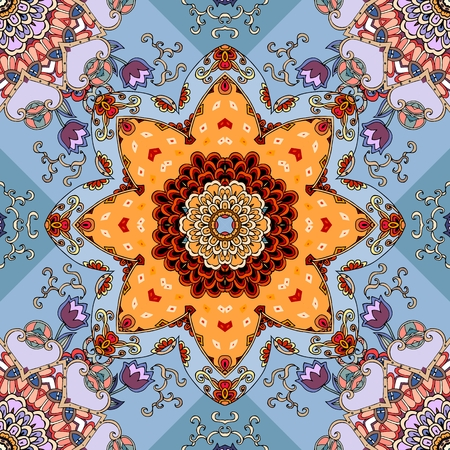 red rug: Seamless floral pattern. Scarf with sun mandala. Lovely tablecloth. Illustration