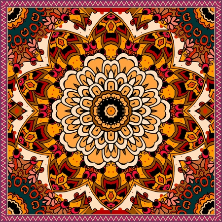 Ethnic square rug with flower mandala in warm tones. Indian, aztec, mexican motives. Vector illustration. Bandana print. Illustration