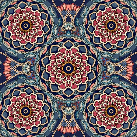 Floral indian pattern with red lotus flower. Illusztráció