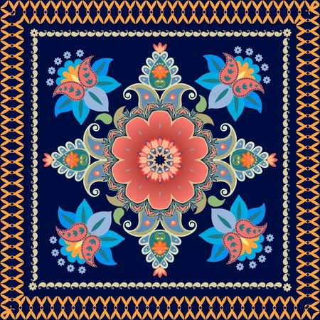 Ethnic bandana print with floral paisley pattern.  Persian, indian, indonesian motives. Vector illustration.