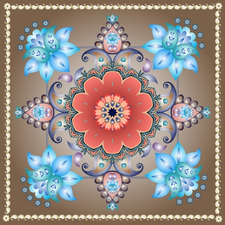 Ceramic tile with floral paisley pattern in form of medallion. Red and blue flower. Vector template. Illustration