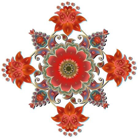 oriental rug: Paisley floral bandana print. Square rug. Beautiful medallion isolated on white. Tablecloth.