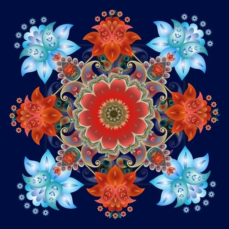 ペイズリー花柄バンダナ プリント。正方形の敷物。濃い青に分離された美しいメダリオン。クッション。