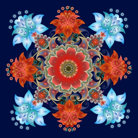 Paisley floral bandanna print. Square rug. Beautiful medallion isolated on dark blue. Cushion. Illustration