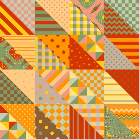 Seamless patchwork pattern in warm summer tones. Vector illustration. Print for fabric.