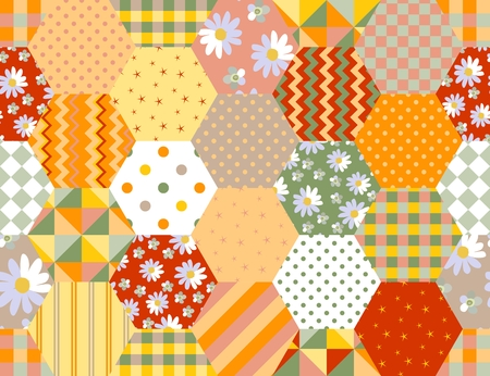 Summer hexagonal seamless pattern. Colorful patchwork background with floral and geometric ornament. Illustration