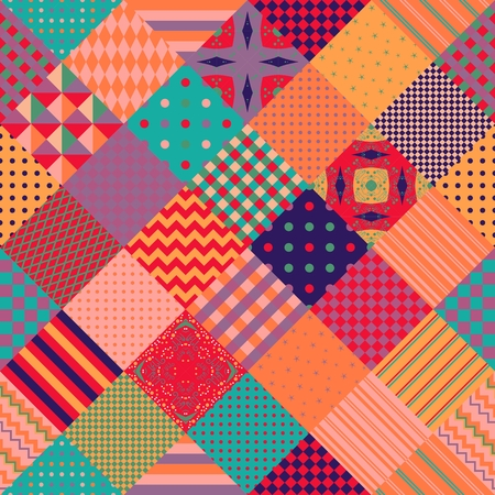 Colorful seamless patchwork pattern. Cute multicolor vector illustration of quilt.