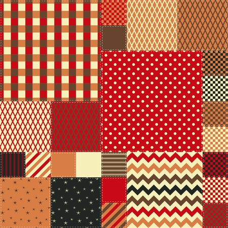 Seamless patchwork pattern in warm colors. Quilt design from colorful square patches. Çizim
