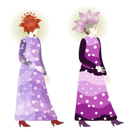 Vintage fashion girls in polka dot dresses and floral paisley hats. Vector design. Illustration