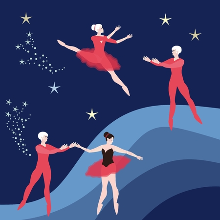 Two couple of ballet dancers on dark blue cosmic background.