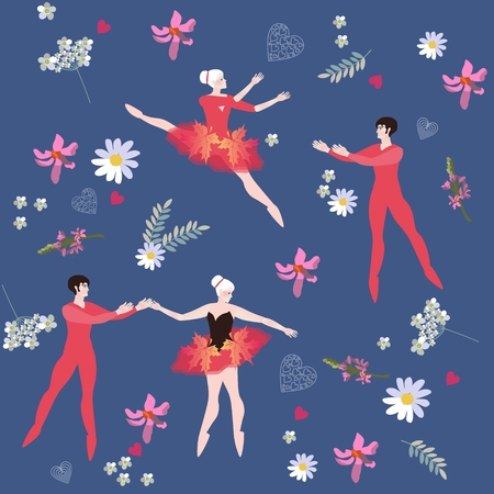 spring balance: Endless pattern with ballet dancers and beautiful flowers. Vector design.
