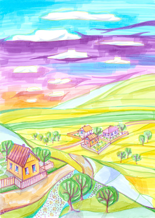 rural road: Countryside landscape with houses and trees on hills. Colorful hand drawn marker sketch. Stock Photo