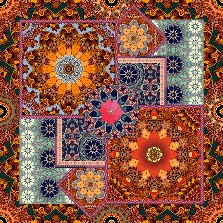 Patchwork pattern with stylized flowers and ornamental frame. Bright print for fabric. Carpet, bandana, tablecloth.