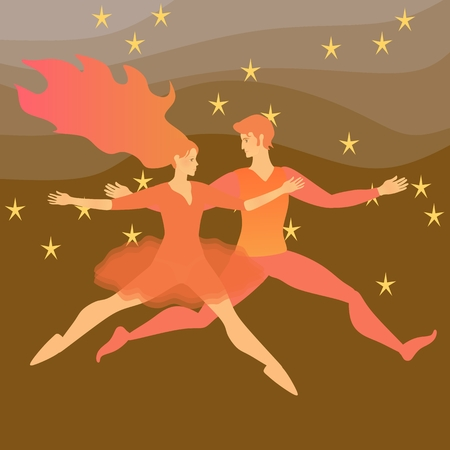 Young couple running in the space, symbolizing the elements of fire in astrology. Illustration