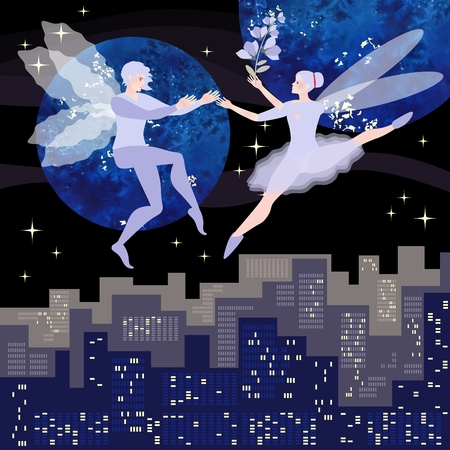 Young elves couple dancing in the night sky, symbolizing the elements of air in astrology. Vector design. Greeting card, wedding invitation.
