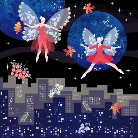 Magical dance of beautiful winged fairies over the night city.  Fantasy vector illustration. Square card. Illustration