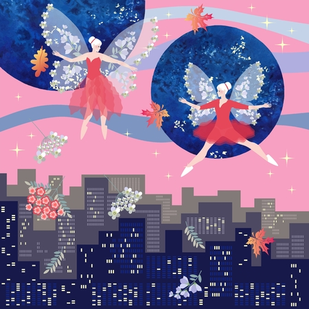 Magical dance of beautiful winged fairies over the city at dawn. Fantasy vector illustration. Square card.