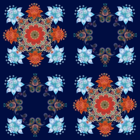Paisley floral background. Print for fabric, bandana, rug.