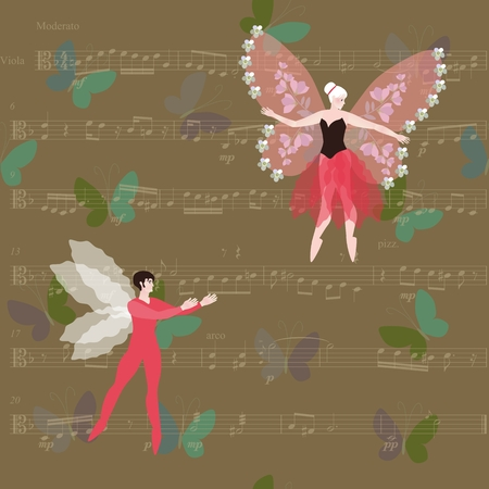 Fairy couple of ballet dancers on background with musical notes and butterflies. Stock Photo